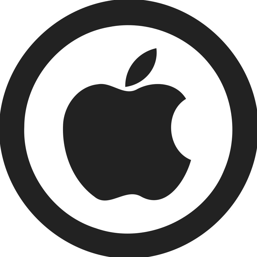 Apple Logo Empty Circle Icon